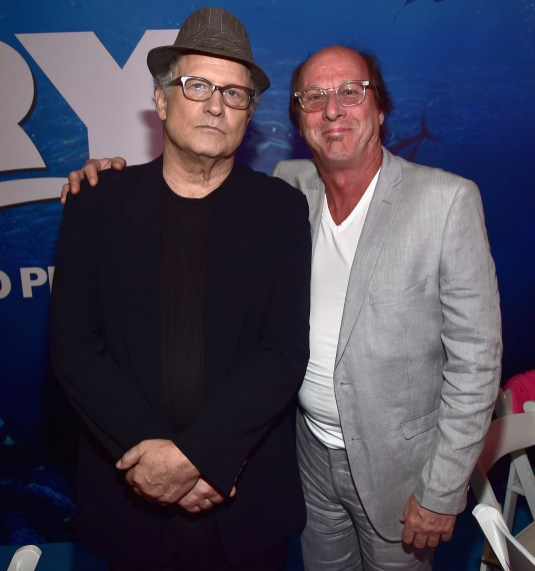 HOLLYWOOD, CA - JUNE 08: Actor Albert Brooks (L) and Composer of 'Piper', Pixar Animation Studios' new short, Adrian Belew attend The World Premiere of Disney-Pixar's FINDING DORY on Wednesday, June 8, 2016 in Hollywood, California. (Photo by Alberto E. Rodriguez/Getty Images for Disney) *** Local Caption *** Albert Brooks; Adrian Belew