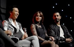 LONDON, ENGLAND - JULY 15: (L-R) Donnie Yen, Felicity Jones and Riz Ahmed on stage during the Rogue One Panel at the Star Wars Celebration 2016 at ExCel on July 15, 2016 in London, England. (Photo by Ben A. Pruchnie/Getty Images for Walt Disney Studios) *** Local Caption *** Donnie Yen; Felicity Jones; Riz Ahmed
