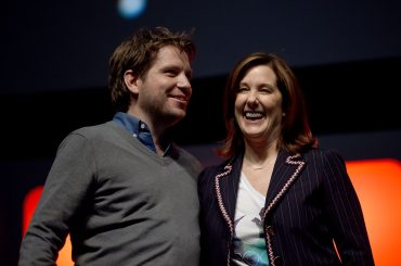 LONDON, ENGLAND - JULY 15: (L-R) Director Gareth Edwards and producer Kathleen Kennedy on stage during the Rogue One Panel at the Star Wars Celebration 2016 at ExCel on July 15, 2016 in London, England. (Photo by Ben A. Pruchnie/Getty Images for Walt Disney Studios) *** Local Caption *** Gareth Edwards; Kathleen Kennedy