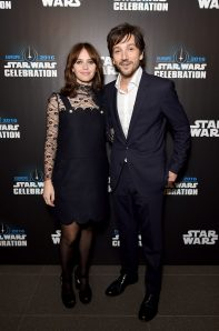 LONDON, ENGLAND - JULY 15: Felicity Jones and Diego Luna attend the Star Wars Celebration 2016 at ExCel on July 15, 2016 in London, England. (Photo by Ben A. Pruchnie/Getty Images for Walt Disney Studios) *** Local Caption *** Felicity Jones; Diego Luna