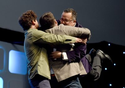 "LONDON, ENGLAND - JULY 17: (L-R) Phil Lord, Chris Miller, directors of ""Untitled Han Solo Star Wars Story"", and Pablo Hidalgo on stage during Future Directors Panel at the Star Wars Celebration 2016 at ExCel on July 17, 2016 in London, England. (Photo by Ben A. Pruchnie/Getty Images for Walt Disney Studios) *** Local Caption *** Phil Lord; Chris Miller; Pablo Hidalgo"