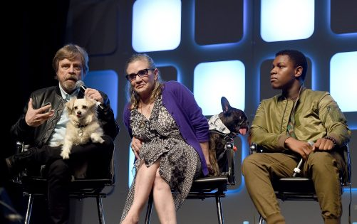 LONDON, ENGLAND - JULY 17: (L-R) Mark Hamill, Carrie Fisher, her dog Gary and John Boyega on stage during Future Directors Panel at the Star Wars Celebration 2016 at ExCel on July 17, 2016 in London, England. (Photo by Ben A. Pruchnie/Getty Images for Walt Disney Studios) *** Local Caption *** Mark Hamill; Carrie Fisher; Gary Fisher; John Boyega