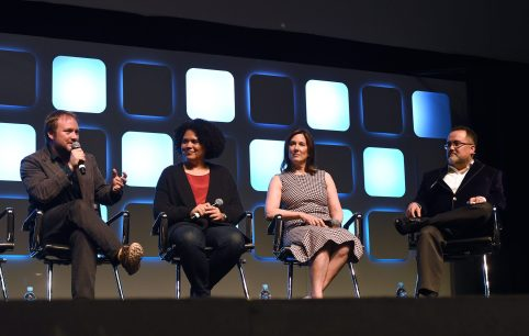 LONDON, ENGLAND - JULY 17: (L-R) Rian Johnson, director of Star Wars Episode VIII, Kiri Hart, SVP of Development, and Kathleen Kennedy, President of Lucasfilm, and Pablo Hidalgo on stage during Future Directors panel at the Star Wars Celebration 2016 at ExCel on July 17, 2016 in London, England. (Photo by Ben A. Pruchnie/Getty Images for Walt Disney Studios) *** Local Caption *** Rian Johnson; Kiri Hart; Kathleen Kennedy; Pablo Hidalgo