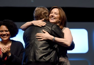 LONDON, ENGLAND - JULY 17: Mark Hamill hugs Kathleen Kennedy on stage during Future Directors Panel at the Star Wars Celebration 2016 at ExCel on July 17, 2016 in London, England. (Photo by Ben A. Pruchnie/Getty Images for Walt Disney Studios) *** Local Caption *** Mark Hamill; Kathleen Kennedy