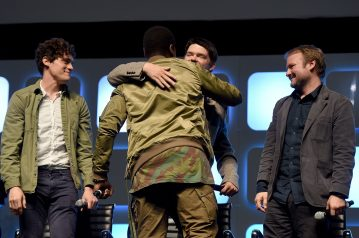 LONDON, ENGLAND - JULY 17: (L-R) Phil Lord, Chris Miller, John Boyega and Rian Johnson on stage during Future Directors Panel at the Star Wars Celebration 2016 at ExCel on July 17, 2016 in London, England. (Photo by Ben A. Pruchnie/Getty Images for Walt Disney Studios) *** Local Caption *** Chris Miller; Phil Lord; John Boyega; Rian Johnson