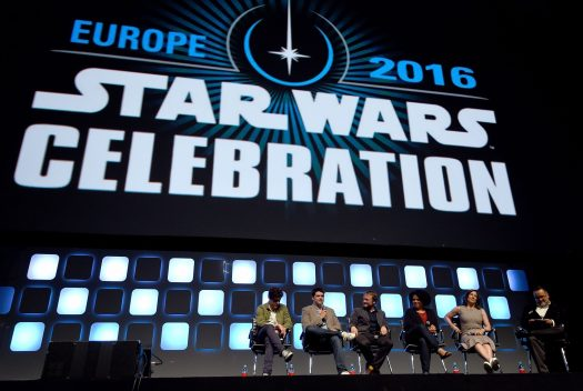 LONDON, ENGLAND - JULY 17: (L-R) Phil Lord, Chris Miller, Rian Johnson, Kiri Hart, Kathleen Kennedy and Pablo Hidalgo on stage during Future Directors Panel at the Star Wars Celebration 2016 at ExCel on July 17, 2016 in London, England. (Photo by Ben A. Pruchnie/Getty Images for Walt Disney Studios) *** Local Caption *** Phil Lord; Chris Miller; Rian Johnson; Kiri Hart; Kathleen Kennedy; Pablo Hidalgo