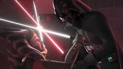 Ahsoka Tano duels Darth Vader in Star Wars Rebels