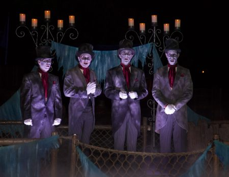 MICKEY'S HALLOWEEN PARTY (ANAHEIM, Calif.) – The Cadaver Dans serenade partygoers with terrifying tunes aboard a drifting raft upon the foggy Rivers of America. Mickey's Halloween Party returns for 17 nights in 2016 beginning Friday, Sept. 23. Guests are encouraged to dress up for a ghoulish good time and enjoy seasonal scares such as Space Mountain Ghost Galaxy and Haunted Mansion Holiday. (Paul Hiffmeyer/Disneyland Resort)