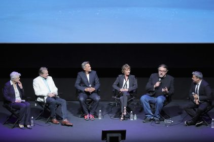 """NEW YORK, NY - SEPTEMBER 18: Angela Lansbury, Richard White, Robbie Benson, Paige O'Hara, Don Hahn and Eugene Hernandez speak on stage at the special screening of Disney's """"Beauty and the Beast"""" to celebrate the 25th Anniversary Edition release on Blu-Ray and DVD on September 18, 2016 in New York City. (Photo by Neilson Barnard/Getty Images for Walt Disney Studios Home Entertainment) *** Local Caption *** Angela Lansbury; Richard White; Robbie Benson; Paige O'Hara; Don Hahn; Eugene Hernandez"""