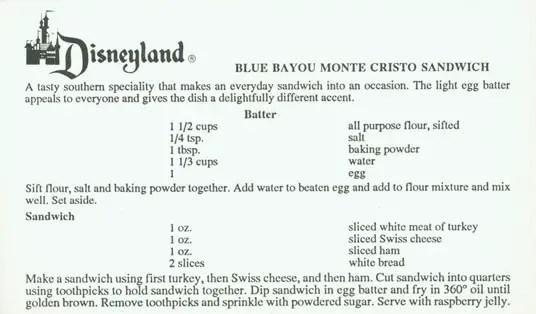 Disneyland's Blue Bayou Monte Cristo Recipe Card