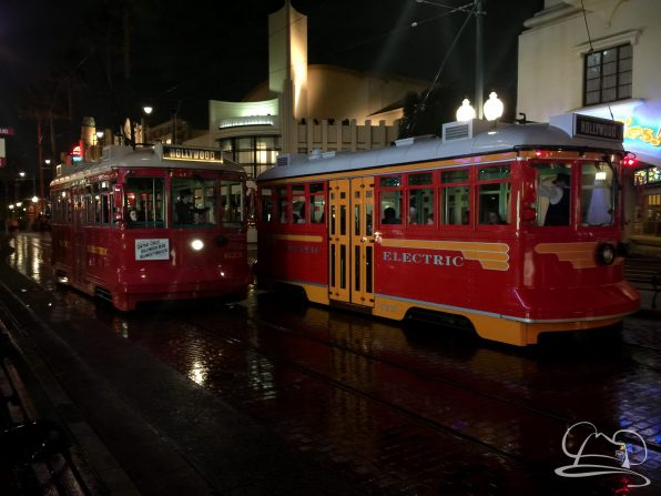 Red Car Trolleys on a Rainy Night at the Disneyland Resort