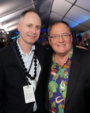 """HOLLYWOOD, CA - NOVEMBER 14: Walt Disney Studios Senior VP of Music Tom MacDougall (L) and executive producer John Lasseter attend The World Premiere of Disney's """"MOANA"""" at the El Capitan Theatre on Monday, November 14, 2016 in Hollywood, CA. (Photo by Jesse Grant/Getty Images for Disney) *** Local Caption *** John Lasseter; Tom MacDougall"""