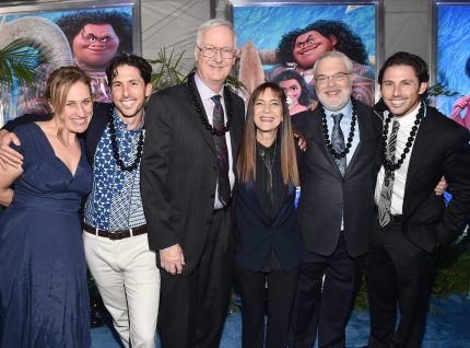 "HOLLYWOOD, CA - NOVEMBER 14: (L-R) Writers Pamela Ribon and Aaron Kandell, director John Musker, producer Osnat Shurer, director Ron Clements, and writer Jordan Kandell attend The World Premiere of Disney's ""MOANA"" at the El Capitan Theatre on Monday, November 14, 2016 in Hollywood, CA. (Photo by Alberto E. Rodriguez/Getty Images for Disney) *** Local Caption *** John Musker; Ron Clements; Pamela Ribon; Aaron Kandell; Jordan Kandell; Osnat Shurer"