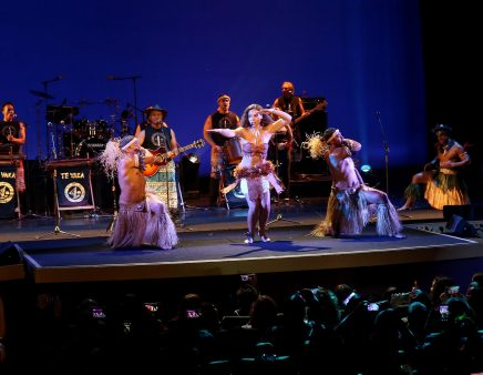 """HOLLYWOOD, CA - NOVEMBER 14: Musicians Olivia Foa'i (C), Opetaia Foa'i (R) and band Te Vaka perform onstage at The World Premiere of Disney's """"MOANA"""" at the El Capitan Theatre on Monday, November 14, 2016 in Hollywood, CA. (Photo by Jesse Grant/Getty Images for Disney) *** Local Caption *** Olivia Foa'i; Opetaia Foa'i"""