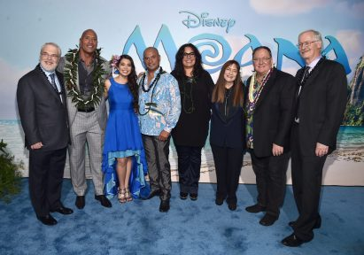 """HOLLYWOOD, CA - NOVEMBER 14: (L-R) Co-director Ron Clements, actors Dwayne Johnson, Auli'i Cravalho, Temuera Morrison, Rachel House, producer Osnat Shurer, Executive producer John Lasseter and co-director John Musker attend The World Premiere of Disney's """"MOANA"""" at the El Capitan Theatre on Monday, November 14, 2016 in Hollywood, CA. (Photo by Alberto E. Rodriguez/Getty Images for Disney) *** Local Caption *** Ron Clements; Dwayne Johnson; Auli'i Cravalho; Temuera Morrison; Rachel House; Osnat Shurer; John Lasseter; John Musker"""