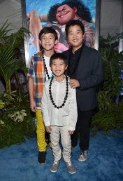 "HOLLYWOOD, CA - NOVEMBER 14: (L-R) Actors Forrest Wheeler, Ian Chen and Hudson Yang attend The World Premiere of Disney's ""MOANA"" at the El Capitan Theatre on Monday, November 14, 2016 in Hollywood, CA. (Photo by Alberto E. Rodriguez/Getty Images for Disney) *** Local Caption *** Forrest Wheeler; Ian Chen; Hudson Yang"