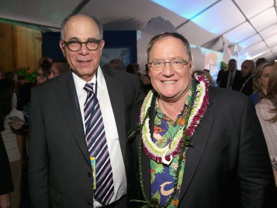 "HOLLYWOOD, CA - NOVEMBER 14: Walt Disney Studios Executive Vice President of Marketing David Sameth (L) and Executive producer John Lasseter attend The World Premiere of Disney's ""MOANA"" at the El Capitan Theatre on Monday, November 14, 2016 in Hollywood, CA. (Photo by Jesse Grant/Getty Images for Disney) *** Local Caption *** David Sameth; John Lasseter"