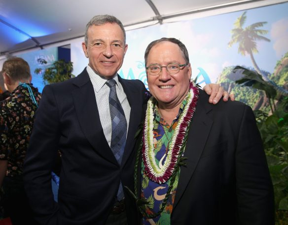"""HOLLYWOOD, CA - NOVEMBER 14: Walt Disney Company Chairman/CEO Bob Iger (L) and executive producer John Lasseter attend The World Premiere of Disney's """"MOANA"""" at the El Capitan Theatre on Monday, November 14, 2016 in Hollywood, CA. (Photo by Jesse Grant/Getty Images for Disney) *** Local Caption *** Bob Iger; John Lasseter"""
