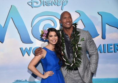 """HOLLYWOOD, CA - NOVEMBER 14: Actors Auli'i Cravalho (L) and Dwayne Johnson attend The World Premiere of Disney's """"MOANA"""" at the El Capitan Theatre on Monday, November 14, 2016 in Hollywood, CA. (Photo by Alberto E. Rodriguez/Getty Images for Disney) *** Local Caption *** Auli'i Cravalho; Dwayne Johnson"""