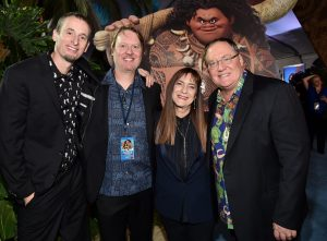 "HOLLYWOOD, CA - NOVEMBER 14: (L-R) Co-directors Chris Williams and Don Hall, producer Osnat Shurer, and executive producer John Lasseter attend The World Premiere of Disney's ""MOANA"" at the El Capitan Theatre on Monday, November 14, 2016 in Hollywood, CA. (Photo by Alberto E. Rodriguez/Getty Images for Disney) *** Local Caption *** Chris Williams; Don Hall; Osnat Shurer; John Lasseter"