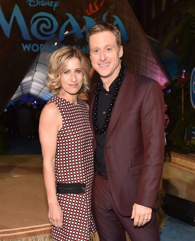 "HOLLYWOOD, CA - NOVEMBER 14: Actor Alan Tudyk (R) and Charissa Barton attend The World Premiere of Disney's ""MOANA"" at the El Capitan Theatre on Monday, November 14, 2016 in Hollywood, CA. (Photo by Alberto E. Rodriguez/Getty Images for Disney) *** Local Caption *** Alan Tudyk; Charissa Barton"