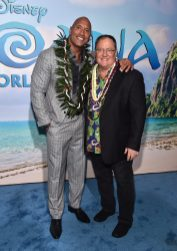"""HOLLYWOOD, CA - NOVEMBER 14: Actor Dwayne Johnson (L) and executive producer John Lasseter attend The World Premiere of Disney's """"MOANA"""" at the El Capitan Theatre on Monday, November 14, 2016 in Hollywood, CA. (Photo by Alberto E. Rodriguez/Getty Images for Disney) *** Local Caption *** Dwayne Johnson; John Lasseter"""