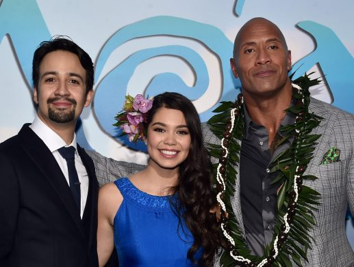 "HOLLYWOOD, CA - NOVEMBER 14: (L-R) Songwriter Lin-Manuel Miranda, actors Auli'i Cravalho and Dwayne Johnson attend The World Premiere of Disney's ""MOANA"" at the El Capitan Theatre on Monday, November 14, 2016 in Hollywood, CA. (Photo by Alberto E. Rodriguez/Getty Images for Disney) *** Local Caption *** Auli'i Cravalho; Dwayne Johnson; Lin-Manuel Miranda"