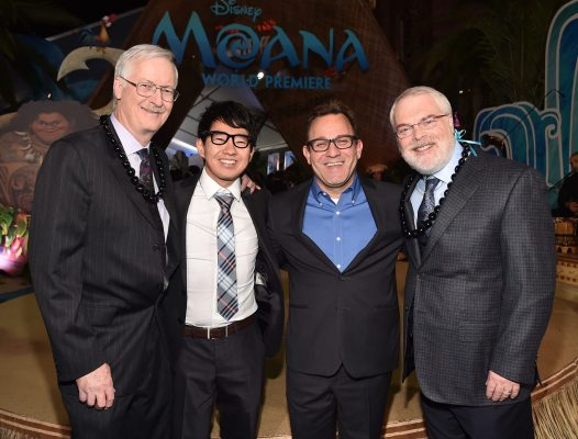 """HOLLYWOOD, CA - NOVEMBER 14: (L-R) Director John Musker, """"Inner Workings"""" co-directors Leo Matsuda and Sean Lurie, and director Ron Clements attend The World Premiere of Disney's """"MOANA"""" at the El Capitan Theatre on Monday, November 14, 2016 in Hollywood, CA. (Photo by Alberto E. Rodriguez/Getty Images for Disney) *** Local Caption *** Leo Matsuda; Sean Lurie; Ron Clements; John Musker"""