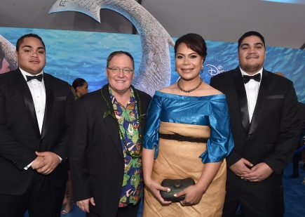 "HOLLYWOOD, CA - NOVEMBER 14: (L-R) Hon. Etani Tuku'aho, executive producer John Lasseter, Hon. Frederica Tuita Filipe, and Prince Tungi attend The World Premiere of Disney's ""MOANA"" at the El Capitan Theatre on Monday, November 14, 2016 in Hollywood, CA. (Photo by Alberto E. Rodriguez/Getty Images for Disney) *** Local Caption *** Etani Tuku'aho; Prince Tungi; Hon. Frederica Tuita Filipe; John Lasseter"
