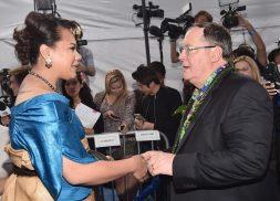"""HOLLYWOOD, CA - NOVEMBER 14: Hon. Frederica Tuita Filipe (L) greets executive producer John Lasseter at The World Premiere of Disney's """"MOANA"""" at the El Capitan Theatre on Monday, November 14, 2016 in Hollywood, CA. (Photo by Alberto E. Rodriguez/Getty Images for Disney) *** Local Caption *** Frederica Tuita Filipe; John Lasseter"""