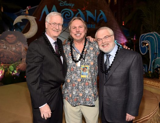 "HOLLYWOOD, CA - NOVEMBER 14: (L-R) Director John Musker, composer Mark Mancina, and director Ron Clements attend The World Premiere of Disney's ""MOANA"" at the El Capitan Theatre on Monday, November 14, 2016 in Hollywood, CA. (Photo by Alberto E. Rodriguez/Getty Images for Disney) *** Local Caption *** John Musker; Mark Mancina; Ron Clements"