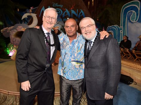 """HOLLYWOOD, CA - NOVEMBER 14: (L-R) Director John Musker, actor Temuera Morrison, and director Ron Clements attend The World Premiere of Disney's """"MOANA"""" at the El Capitan Theatre on Monday, November 14, 2016 in Hollywood, CA. (Photo by Alberto E. Rodriguez/Getty Images for Disney) *** Local Caption *** John Musker; Temuera Morrison; Ron Clements"""