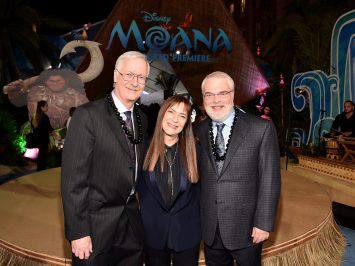 "HOLLYWOOD, CA - NOVEMBER 14: (L-R) Director John Musker, producer Osnat Shurer, and director Ron Clements attend The World Premiere of Disney's ""MOANA"" at the El Capitan Theatre on Monday, November 14, 2016 in Hollywood, CA. (Photo by Alberto E. Rodriguez/Getty Images for Disney) *** Local Caption *** John Musker; Osnat Shurer; Ron Clements"