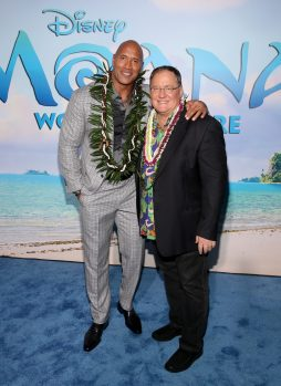 """HOLLYWOOD, CA - NOVEMBER 14: Actor Dwayne Johnson (L) and executive producer John Lasseter attend The World Premiere of Disney's """"MOANA"""" at the El Capitan Theatre on Monday, November 14, 2016 in Hollywood, CA. (Photo by Jesse Grant/Getty Images for Disney) *** Local Caption *** John Lasseter; Dwayne Johnson"""