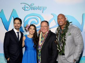 """HOLLYWOOD, CA - NOVEMBER 14: (L-R) Songwriter Lin-Manuel Miranda, actress Auli'i Cravalho, executive producer John Lasseter, and actor Dwayne Johnson attend The World Premiere of Disney's """"MOANA"""" at the El Capitan Theatre on Monday, November 14, 2016 in Hollywood, CA. (Photo by Jesse Grant/Getty Images for Disney) *** Local Caption *** Auli'i Cravalho; Dwayne Johnson; Lin-Manuel Miranda; John Lasseter"""