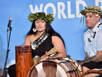 "HOLLYWOOD, CA - NOVEMBER 14: Musicians Tiana Liufau (L) and Sefa Pumphrey perform onstage at The World Premiere of Disney's ""MOANA"" at the El Capitan Theatre on Monday, November 14, 2016 in Hollywood, CA. (Photo by Alberto E. Rodriguez/Getty Images for Disney) *** Local Caption *** Tiana Liufau; Sefa Pumphrey"