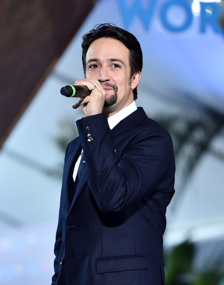 """HOLLYWOOD, CA - NOVEMBER 14: Songwriter Lin-Manuel Miranda speaks onstage at The World Premiere of Disney's """"MOANA"""" at the El Capitan Theatre on Monday, November 14, 2016 in Hollywood, CA. (Photo by Alberto E. Rodriguez/Getty Images for Disney) *** Local Caption *** Lin-Manuel Miranda"""