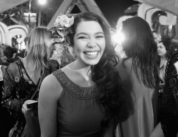 "HOLLYWOOD, CA - NOVEMBER 14: (EDITORS NOTE: Image has been shot in black and white. Color version not available.) Actress Auli'i Cravalho attends The World Premiere of Disney's ""MOANA"" at the El Capitan Theatre on Monday, November 14, 2016 in Hollywood, CA. (Photo by Charley Gallay/Getty Images for Disney) *** Local Caption *** Auli'i Cravalho"