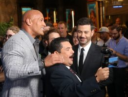 """HOLLYWOOD, CA - NOVEMBER 14: (L-R) Actor Dwayne Johnson, TV personalities Guillermo Rodriguez and Jimmy Kimmel attend The World Premiere of Disney's """"MOANA"""" at the El Capitan Theatre on Monday, November 14, 2016 in Hollywood, CA. (Photo by Jesse Grant/Getty Images for Disney) *** Local Caption *** Jimmy Kimmel; Dwayne Johnson; Guillermo Rodriguez"""