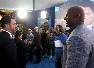 "HOLLYWOOD, CA - NOVEMBER 14: TV personality Jimmy Kimmel (L) and actor Dwayne Johnson attend The World Premiere of Disney's ""MOANA"" at the El Capitan Theatre on Monday, November 14, 2016 in Hollywood, CA. (Photo by Jesse Grant/Getty Images for Disney) *** Local Caption *** Jimmy Kimmel; Dwayne Johnson"