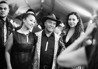 "HOLLYWOOD, CA - NOVEMBER 14: (EDITORS NOTE: Image has been shot in black and white. Color version not available.) Musicians Opetaia Foa'i (C) and Olivia Foa'i (R) with Te Vaka attend The World Premiere of Disney's ""MOANA"" at the El Capitan Theatre on Monday, November 14, 2016 in Hollywood, CA. (Photo by Charley Gallay/Getty Images for Disney) *** Local Caption *** Opetaia Foa'i; Olivia Foa'i"