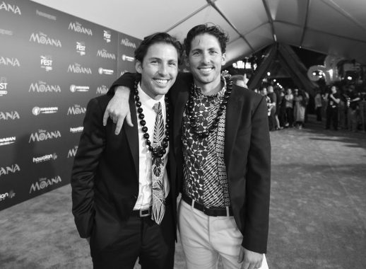 """HOLLYWOOD, CA - NOVEMBER 14: (EDITORS NOTE: Image has been shot in black and white. Color version not available.) Writers Jordan Kandell (L) and Aaron Kandell attend The World Premiere of Disney's """"MOANA"""" at the El Capitan Theatre on Monday, November 14, 2016 in Hollywood, CA. (Photo by Charley Gallay/Getty Images for Disney) *** Local Caption *** Aaron Kandell; Jordan Kandell"""