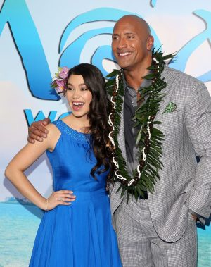 """HOLLYWOOD, CA - NOVEMBER 14: Actors Auli'i Cravalho (L) and Dwayne Johnson attend The World Premiere of Disney's """"MOANA"""" at the El Capitan Theatre on Monday, November 14, 2016 in Hollywood, CA. (Photo by Jesse Grant/Getty Images for Disney) *** Local Caption *** Auli'i Cravalho; Dwayne Johnson"""
