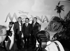 "HOLLYWOOD, CA - NOVEMBER 14: (EDITORS NOTE: Image has been shot in black and white. Color version not available.) (L-R) Walt Disney Studios Chairman Alan Horn, songwriter Lin-Manuel Miranda, and Walt Disney Company CEO Robert Iger attend The World Premiere of Disney's ""MOANA"" at the El Capitan Theatre on Monday, November 14, 2016 in Hollywood, CA. (Photo by Charley Gallay/Getty Images for Disney) *** Local Caption *** Lin-Manuel Miranda; Robert Iger; Alan Horn"