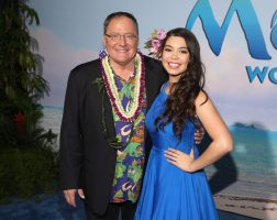 "HOLLYWOOD, CA - NOVEMBER 14: Executive producer John Lasseter (L) and Auli'i Cravalho attend The World Premiere of Disney's ""MOANA"" at the El Capitan Theatre on Monday, November 14, 2016 in Hollywood, CA. (Photo by Jesse Grant/Getty Images for Disney) *** Local Caption *** Auli'i Cravalho; John Lasseter"
