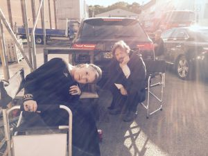 Carrie Fisher & Mark Hamill on the Set of Star Wars Episode VIII in Tribute from Oscar Isaac