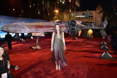 """HOLLYWOOD, CA - DECEMBER 10: Actress Katie Leclerc attends The World Premiere of Lucasfilm's highly anticipated, first-ever, standalone Star Wars adventure, """"Rogue One: A Star Wars Story"""" at the Pantages Theatre on December 10, 2016 in Hollywood, California. (Photo by Marc Flores/Getty Images for Disney) *** Local Caption *** Katie Leclerc"""