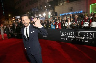 """HOLLYWOOD, CA - DECEMBER 10: Actor Diego Luna attends The World Premiere of Lucasfilm's highly anticipated, first-ever, standalone Star Wars adventure, """"Rogue One: A Star Wars Story"""" at the Pantages Theatre on December 10, 2016 in Hollywood, California. (Photo by Jesse Grant/Getty Images for Disney) *** Local Caption *** Diego Luna"""