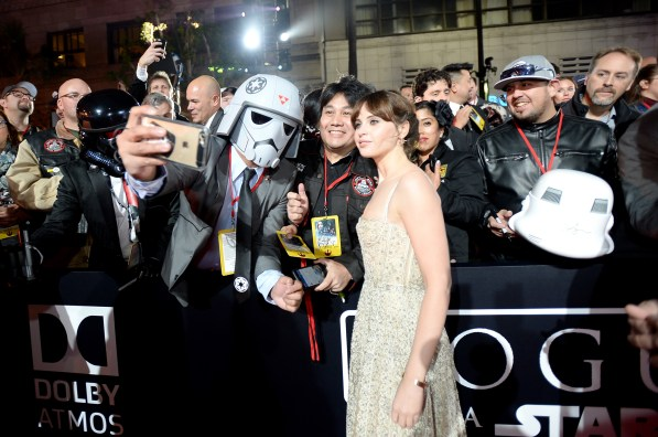 """HOLLYWOOD, CA - DECEMBER 10: Actress Felicity Jones attends The World Premiere of Lucasfilm's highly anticipated, first-ever, standalone Star Wars adventure, """"Rogue One: A Star Wars Story"""" at the Pantages Theatre on December 10, 2016 in Hollywood, California. (Photo by Charley Gallay/Getty Images for Disney) *** Local Caption *** Felicity Jones"""
