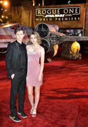 """HOLLYWOOD, CA - DECEMBER 10: Actors Ty Simpkins (L) and Ryan Simpkins attend The World Premiere of Lucasfilm's highly anticipated, first-ever, standalone Star Wars adventure, """"Rogue One: A Star Wars Story"""" at the Pantages Theatre on December 10, 2016 in Hollywood, California. (Photo by Marc Flores/Getty Images for Disney) *** Local Caption *** Ty Simpkins; Ryan Simpkins"""